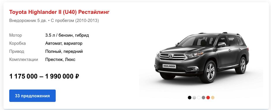Toyota Highlander U40 цены