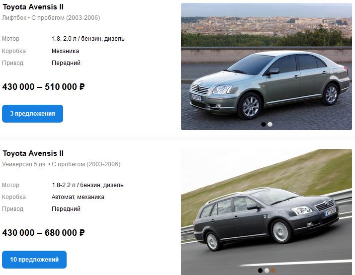 Toyota Avensis II цены auto.ru