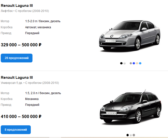 Renault Laguna III цены auto.ru