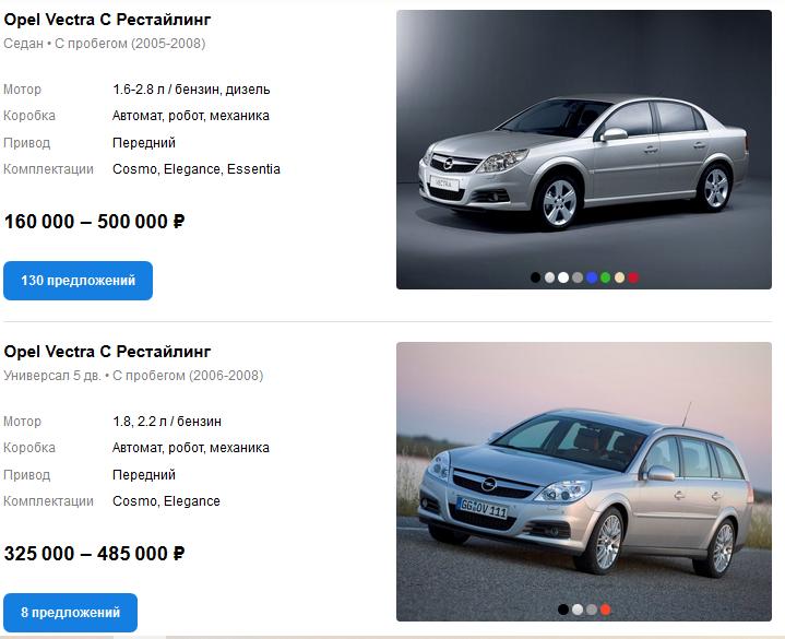 Opel Vectra C цены auto.ru