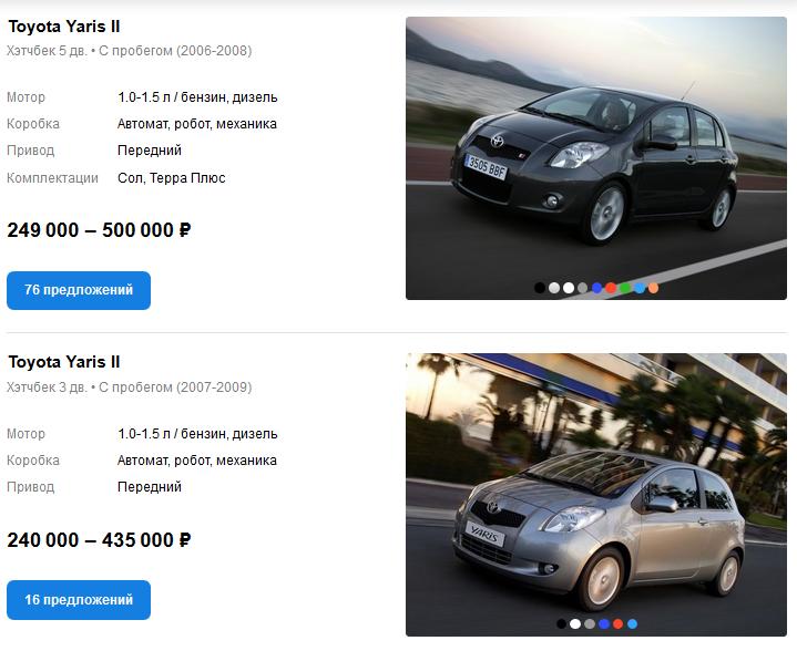 Toyota Yaris II цены auto.ru