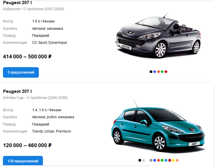 Peugeot 207 цены auto.ru