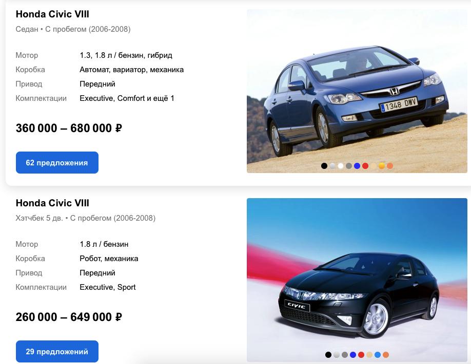 civik auto.ru цены